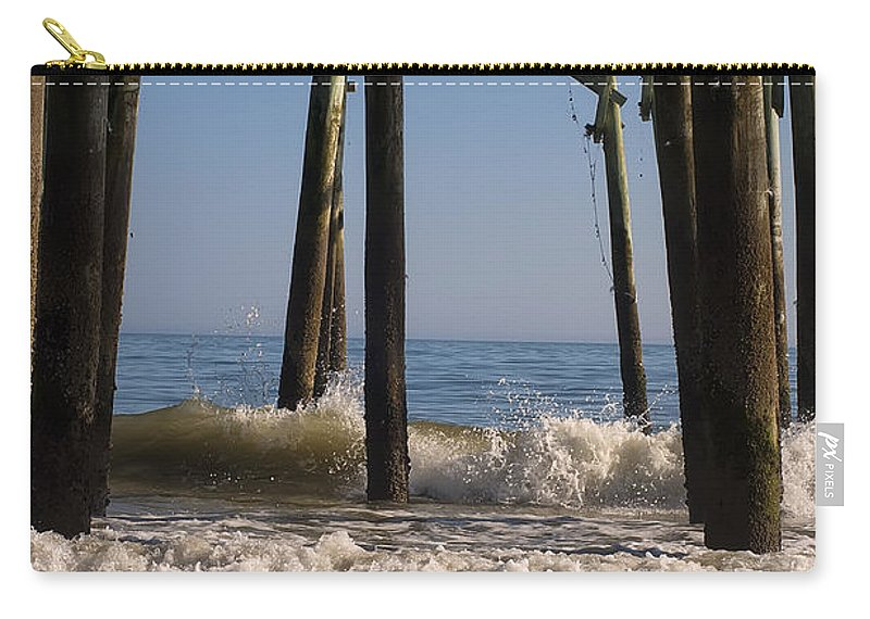 Landscape Carry-all Pouch featuring the digital art Waves Crash In by Chris Flees