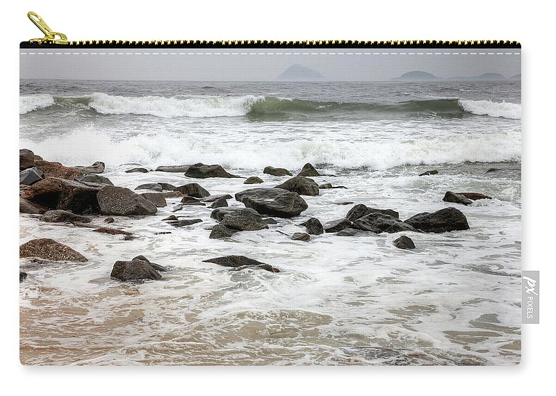 Water's Edge Carry-all Pouch featuring the photograph Waves Crashing On Copacabana Beach In by Tirc83