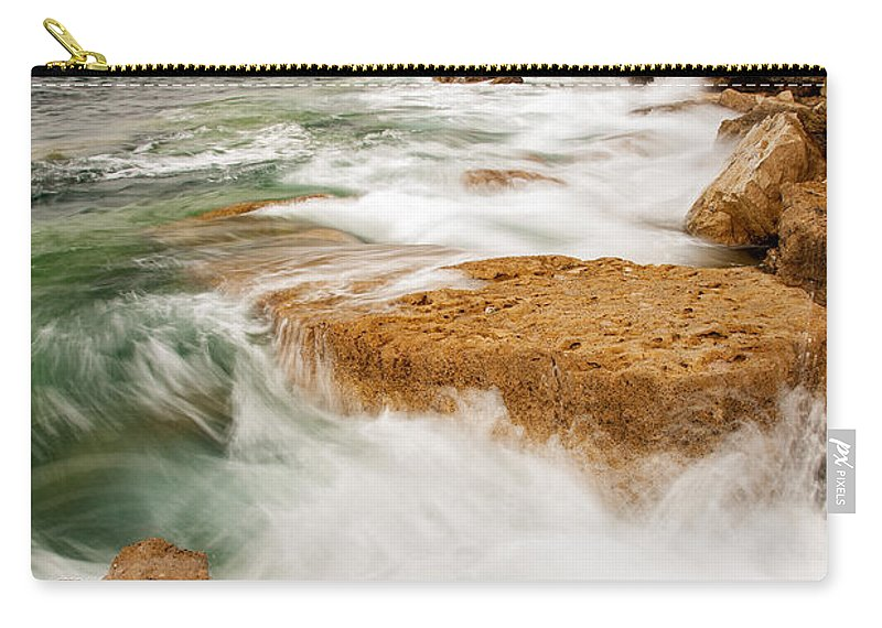 Pulpit Carry-all Pouch featuring the photograph Waves Crashing Over Portland Bill by Ian Middleton