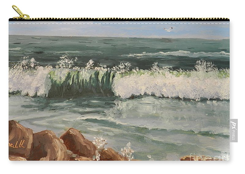 Impressionism Carry-all Pouch featuring the painting Waves Crashing by Pamela Meredith