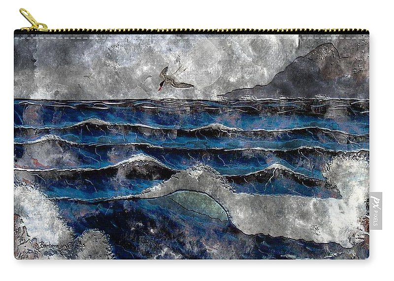 Waves Carry-all Pouch featuring the digital art Waves - Ocean - Steel Engraving by Barbara Griffin
