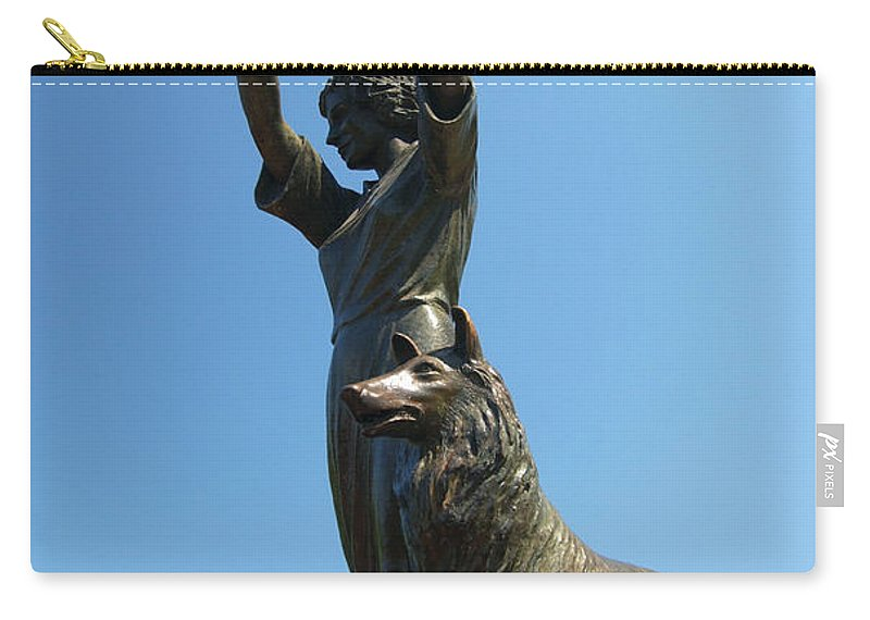 Waving Girl Carry-all Pouch featuring the photograph Waving Girl Savannah Georgia by Bob Pardue