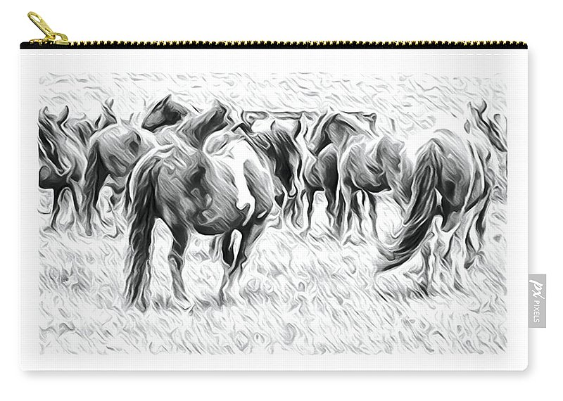 Horses Carry-all Pouch featuring the photograph Wavy Horses by Alice Gipson