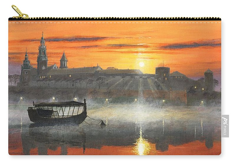 Krakow Carry-all Pouch featuring the painting Wawel Sunrise Krakow by Richard Harpum