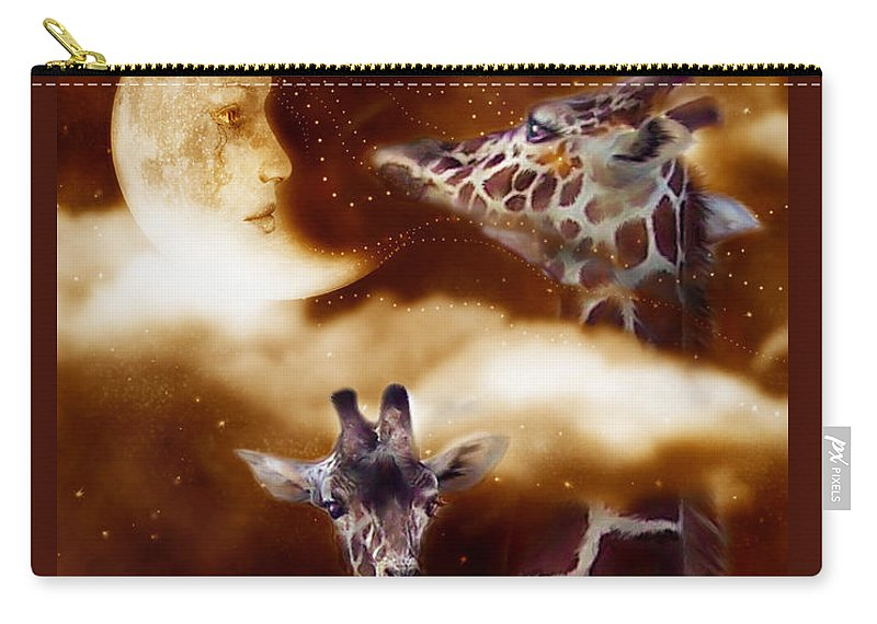Giraffe Carry-all Pouch featuring the mixed media Way Up There by Carol Cavalaris