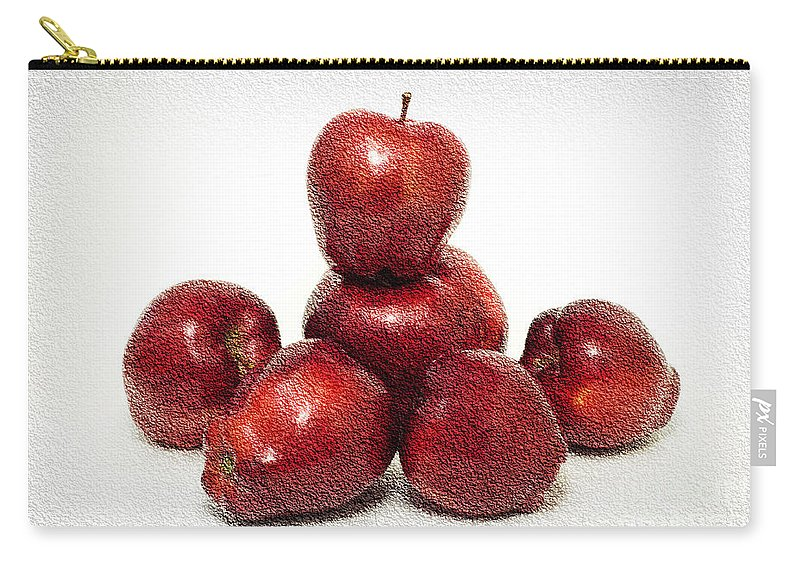 Apple Carry-all Pouch featuring the photograph We Are Family - 6 Red Apples - Fresh Fruit - An Apple A Day - Orchard by Andee Design