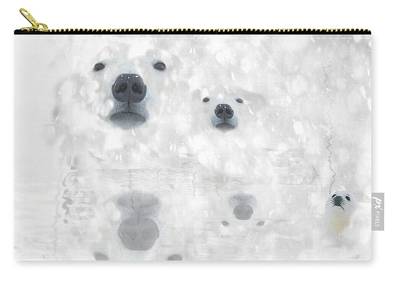 Bear Carry-all Pouch featuring the digital art Weather Forcast - Snow - Featured In Cards For All Occasions Group by Ericamaxine Price