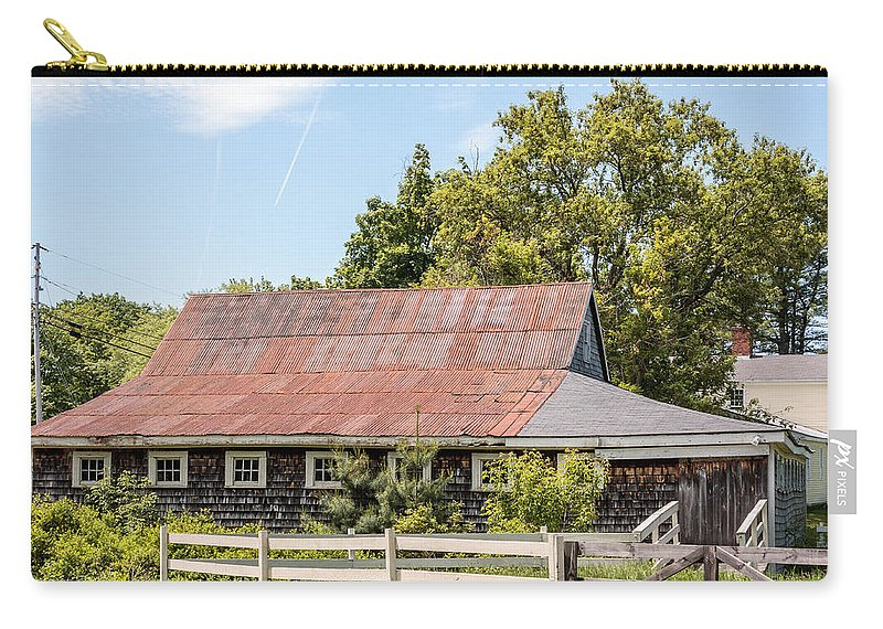 Laura Duhaime Photography Carry-all Pouch featuring the photograph Weathered Barn by Laura Duhaime