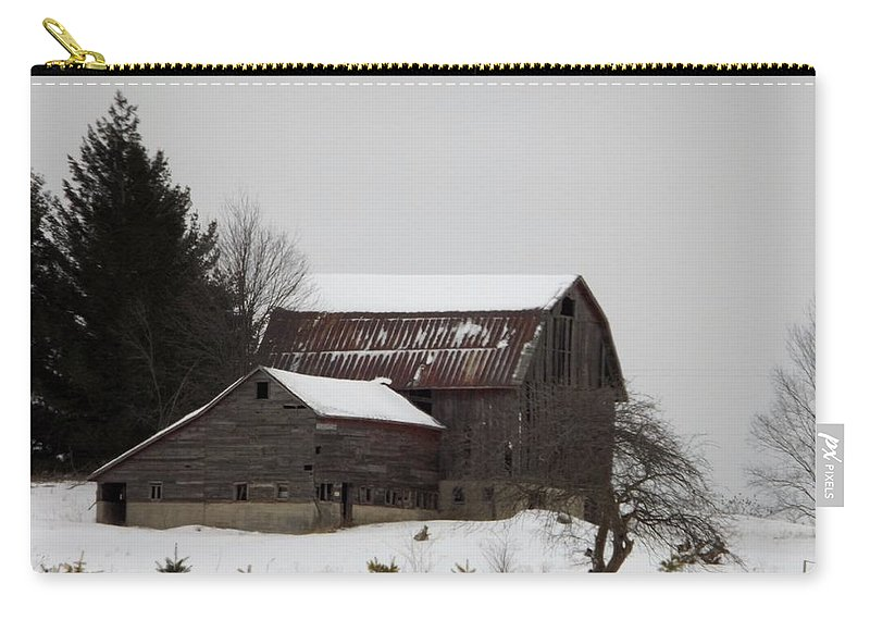 Barn Carry-all Pouch featuring the photograph Weathered Barns In Winter by Linda Kerkau