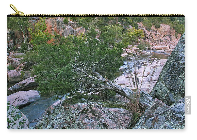 Cedar Carry-all Pouch featuring the photograph Weathered Cedar Overlooking The Castor River by Greg Matchick