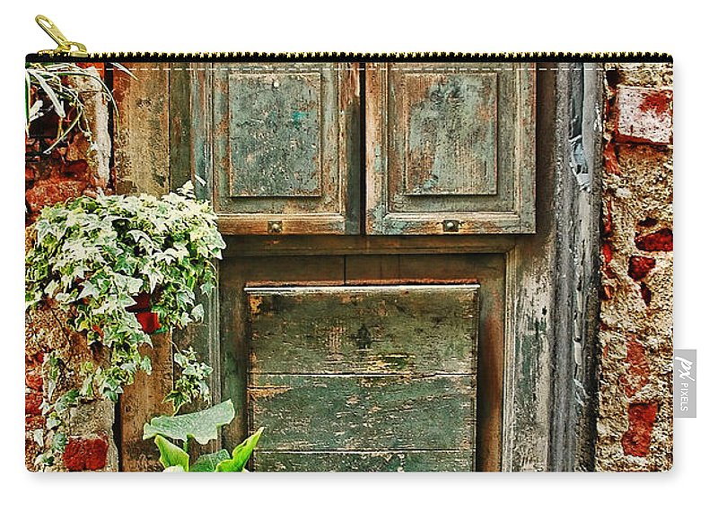 Italian Carry-all Pouch featuring the photograph Weathered Door by Allen Beatty