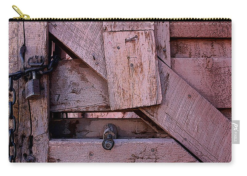 Gate Carry-all Pouch featuring the digital art Weathered Gate With Lock And Chain by Joe Kozlowski