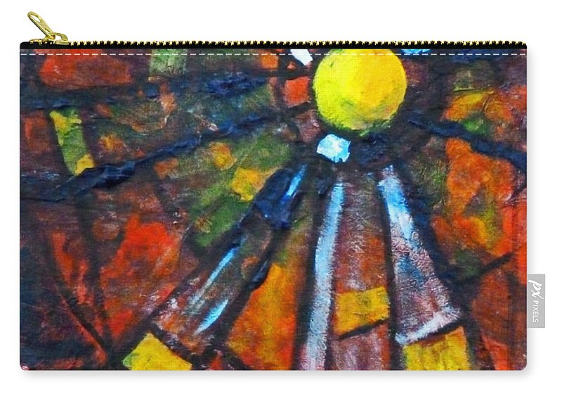 Red Abstract Painting Carry-all Pouch featuring the mixed media Web by Nancy Merkle