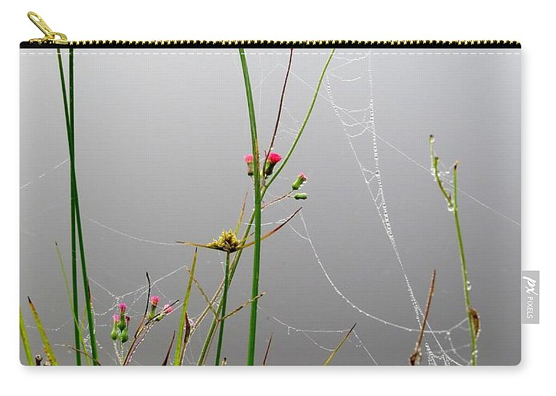 Floral Carry-all Pouch featuring the photograph Web Of Pearls by Zina Stromberg