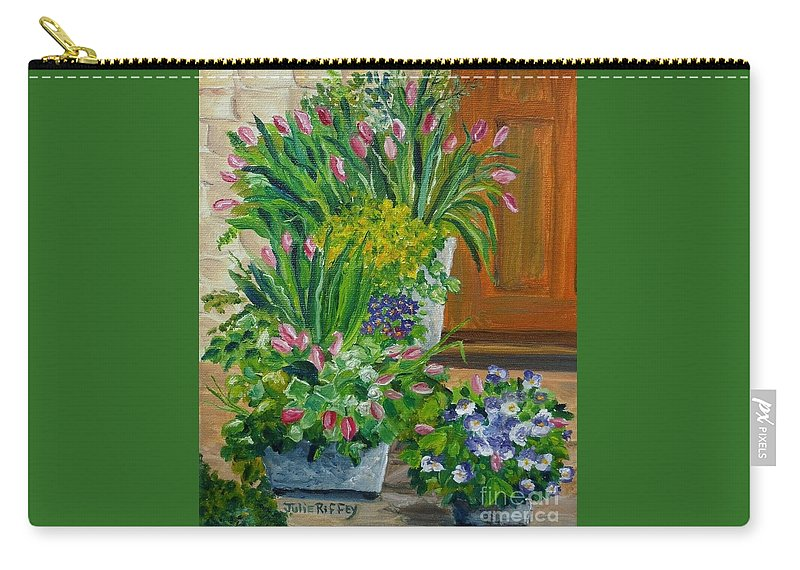 Potted Plants Carry-all Pouch featuring the painting Welcome Home by Julie Brugh Riffey