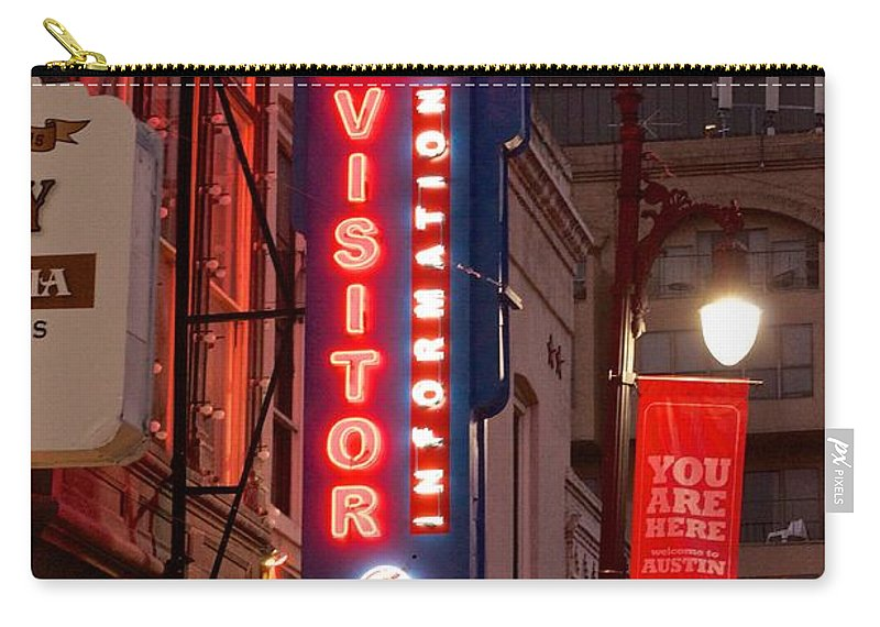 Austin Sign Art Carry-all Pouch featuring the photograph Welcome To 6th Street by Kristina Deane