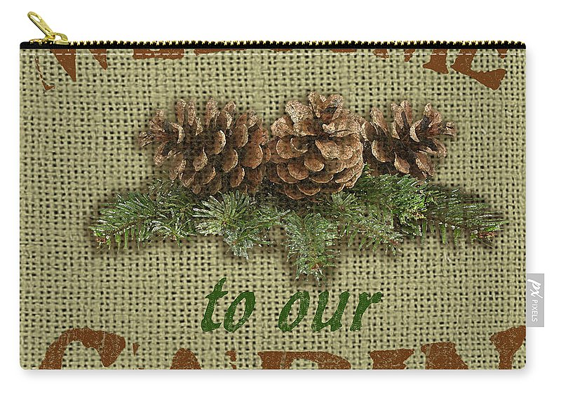 Brown Carry-all Pouch featuring the painting Welcome To Cabin by Jean Plout