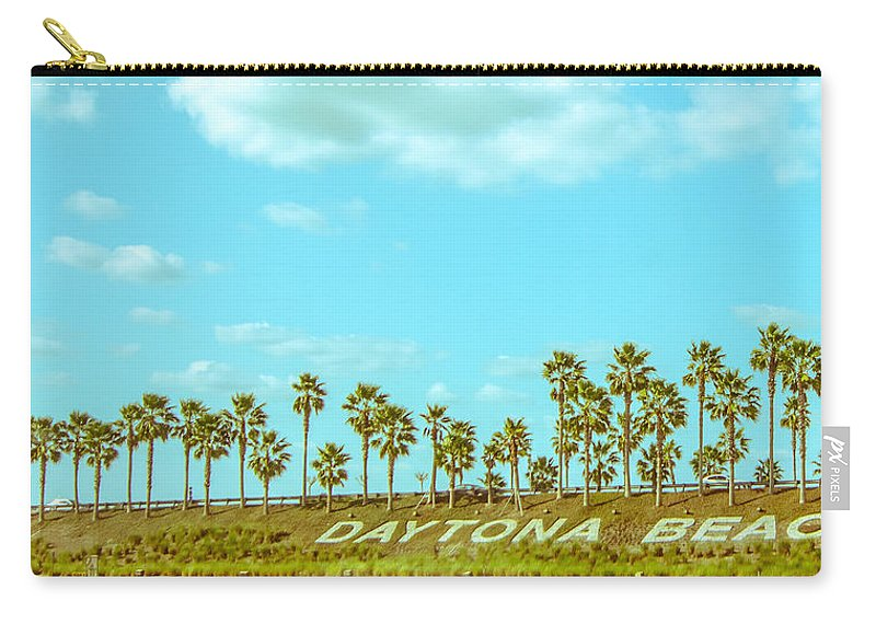 Daytona Carry-all Pouch featuring the pyrography Welcome To Daytona Beach by Shirley Tinkham