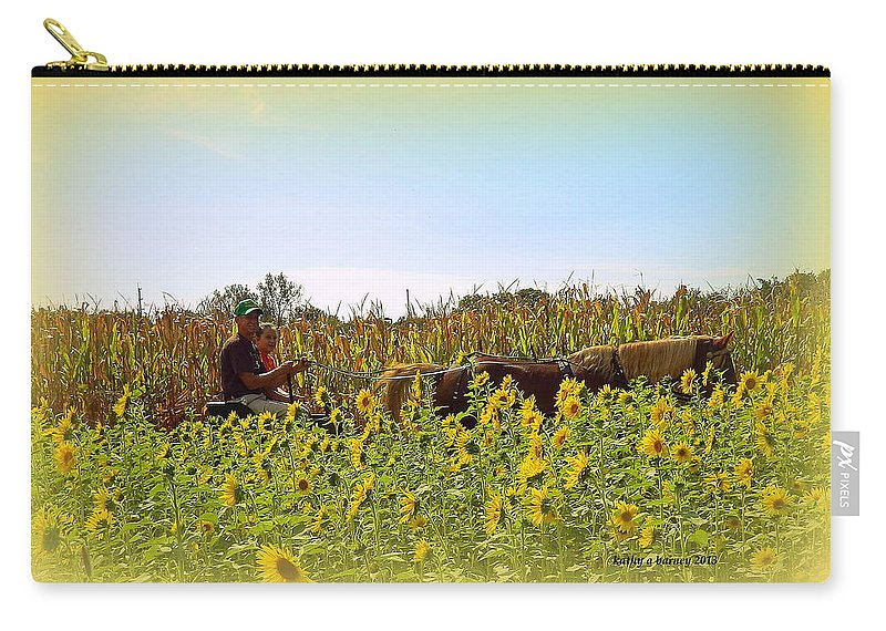 Sunflowers Carry-all Pouch featuring the photograph Welcome To Gorman Farm In Evandale Ohio by Kathy Barney