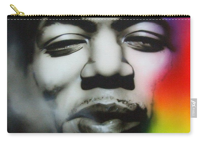 Jimi Carry-all Pouch featuring the painting Well I Stand Up Next To A Mountain by Christian Chapman Art