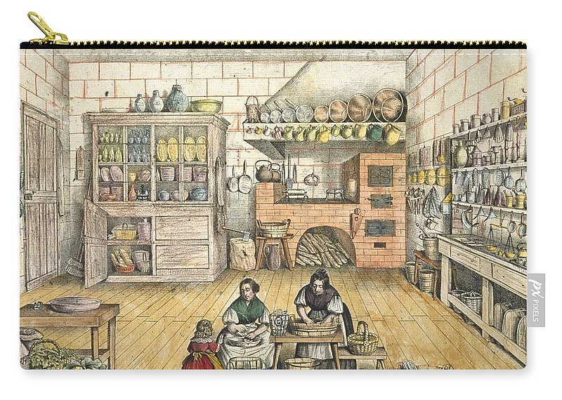 Workers Carry-all Pouch featuring the drawing Well Stocked Rustic Kitchen by French School