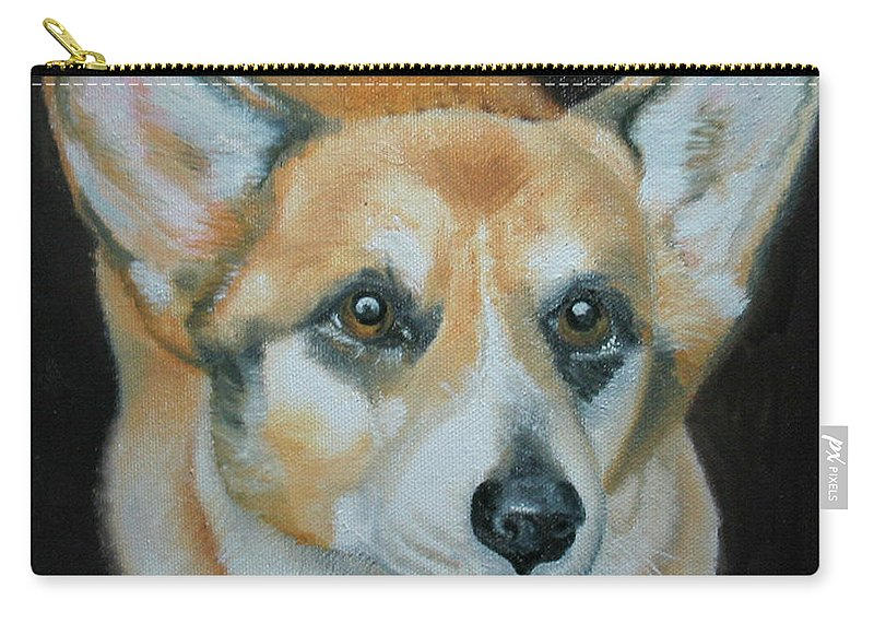 Corgi Carry-all Pouch featuring the painting Welsh Corgi by Thomas J Herring
