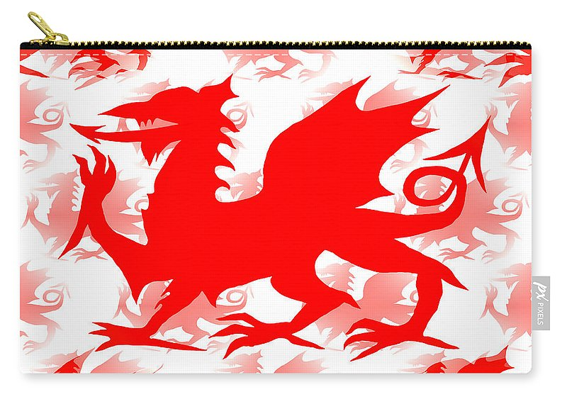Dragon Carry-all Pouch featuring the digital art Welsh Dragon by Barbara Moignard