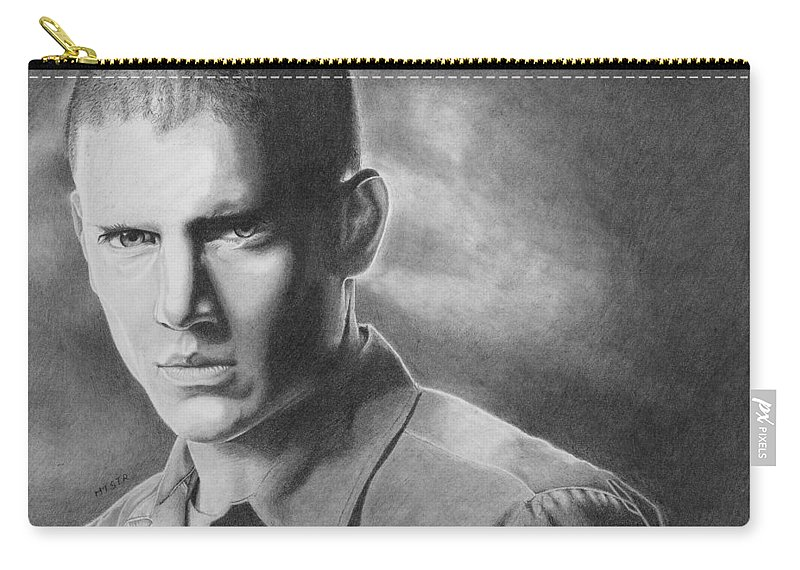 Drawing Carry-all Pouch featuring the drawing Wenworth Miller by Michal Straska
