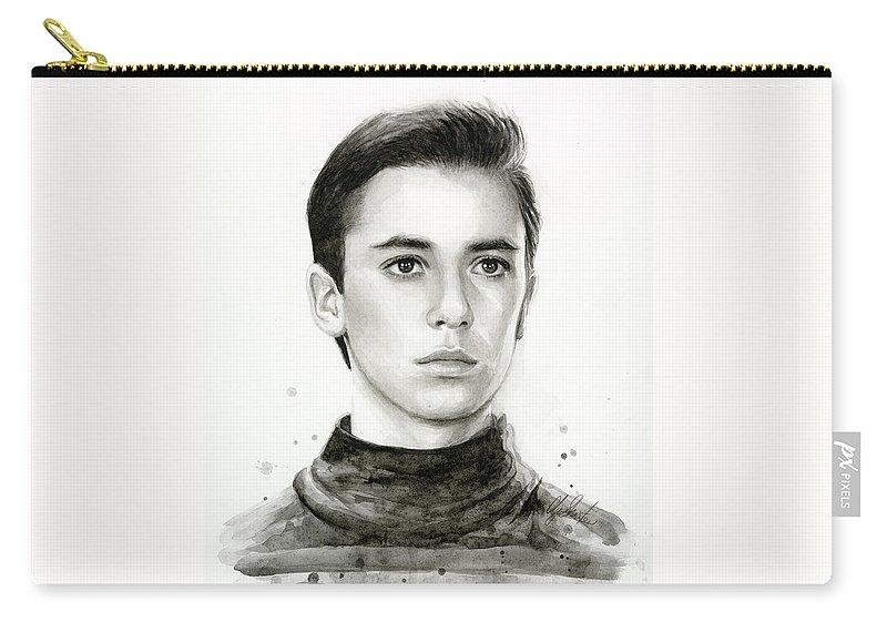 Wesley Carry-all Pouch featuring the painting Wesley Crusher Star Trek Fan Art by Olga Shvartsur
