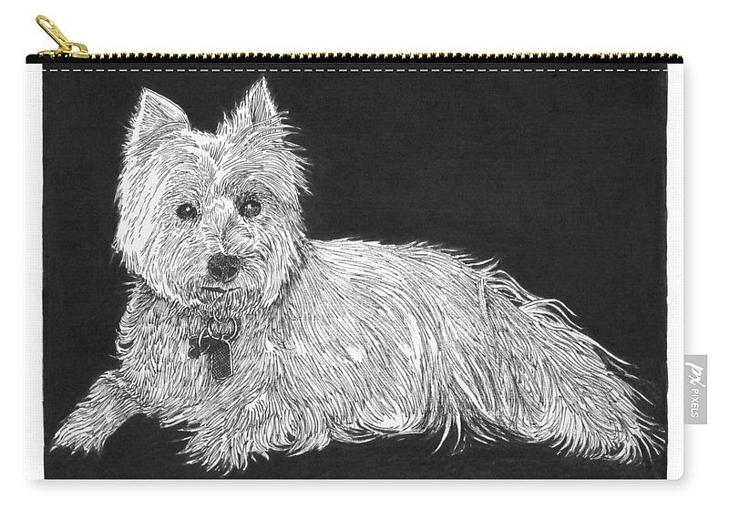 West Highland White Terrier Carry-all Pouch featuring the drawing West Highland White Terrier by Jack Pumphrey