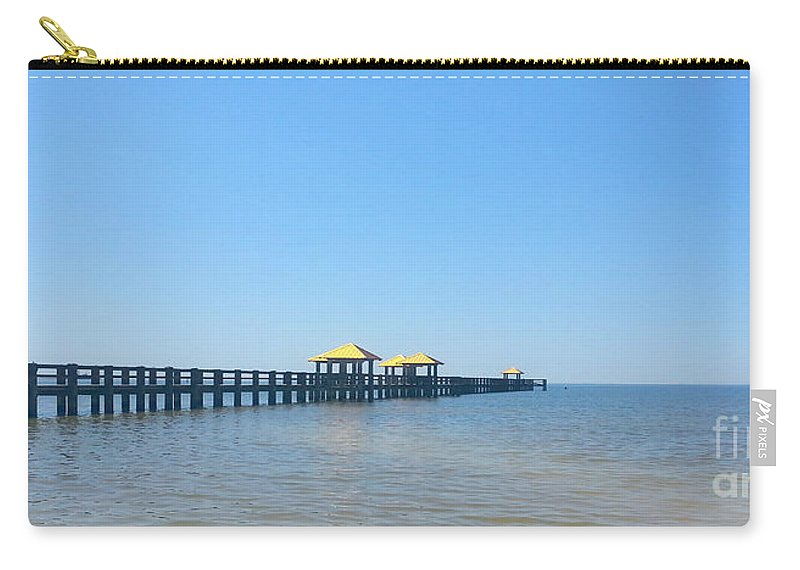 West Side Pier Carry-all Pouch featuring the photograph West Side Pier Gulfport Mississippi by Alys Caviness-Gober