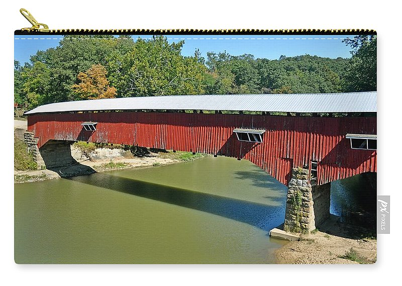 West Union Covered Bridge Carry-all Pouch featuring the photograph West Union Covered Bridge 2 by Marty Koch