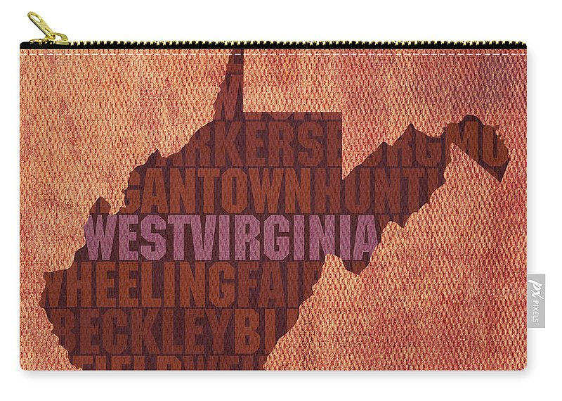 West Virginia State Word Art On Canvas Carry-all Pouch featuring the mixed media West Virginia State Word Art on Canvas by Design Turnpike
