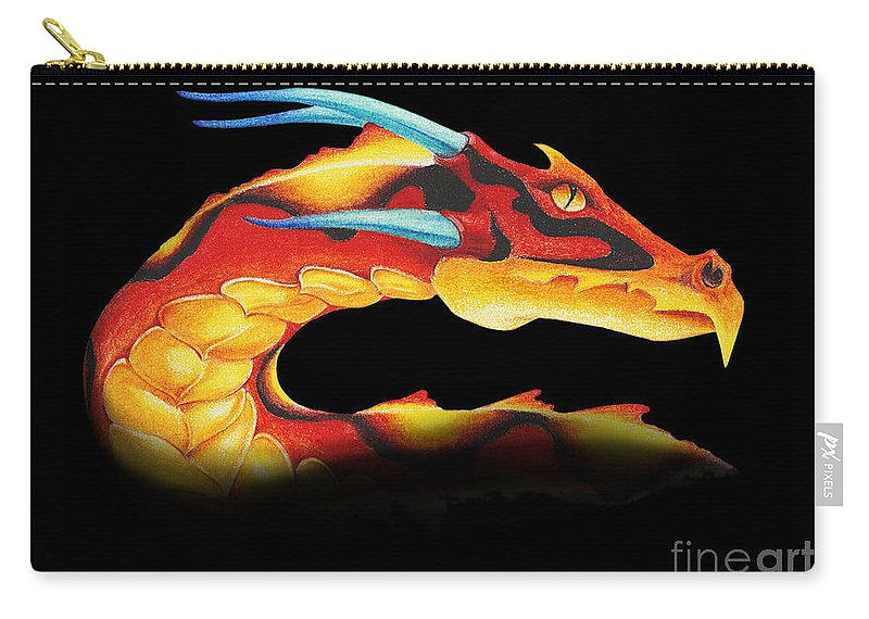 Dragon Carry-all Pouch featuring the digital art Western Dragon by Melissa A Benson
