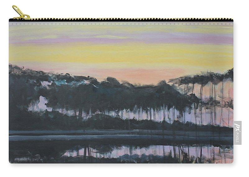 Western Lake Sunrise Carry-all Pouch featuring the painting Western Lake Sunrise by Candace Lovely