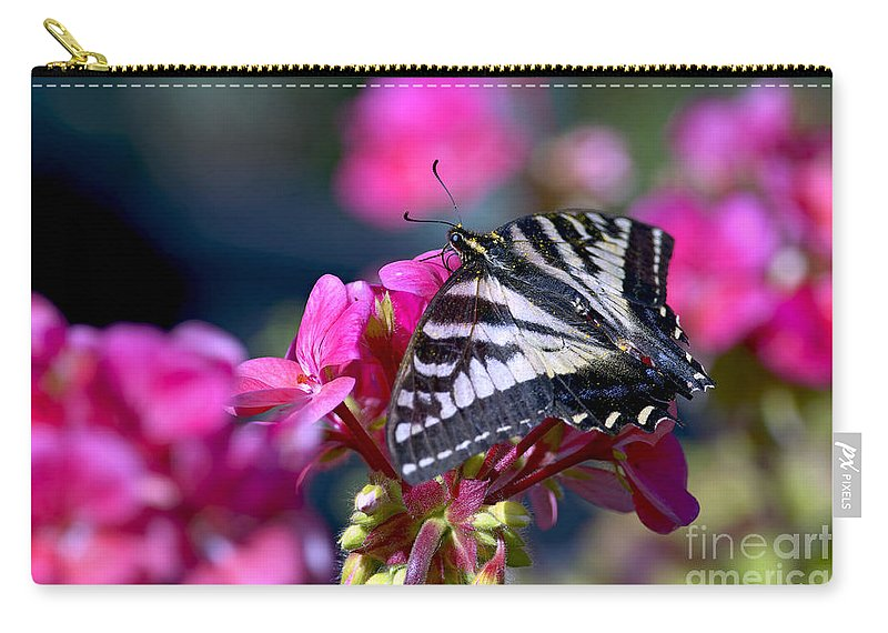 Tiger Swallowtail Butterfly Carry-all Pouch featuring the photograph Western Tiger Swallowtail Butterfly On Geranium by Sharon Talson