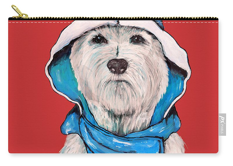 Westie Carry-all Pouch featuring the painting Westie In A Blue Slicker by Dale Moses