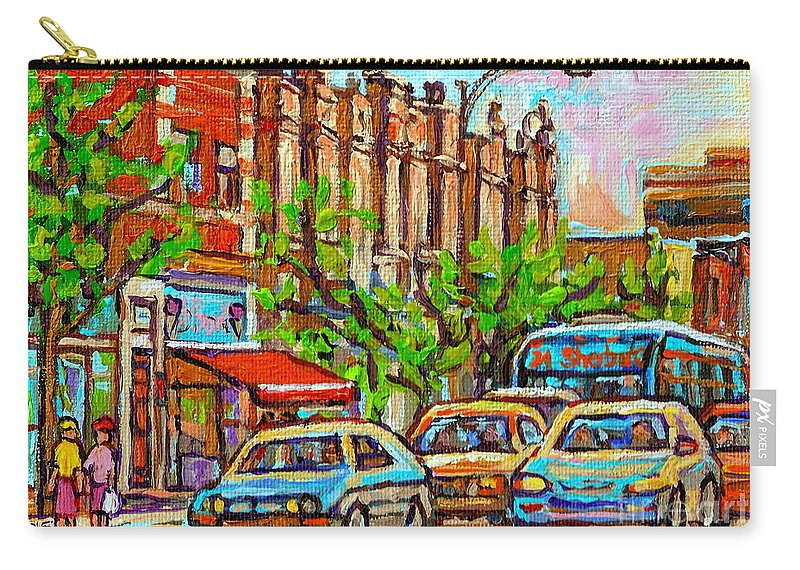 Bilboquet - Montreal Ice Cream-gelato Restaurant Carry-all Pouch featuring the painting Westmount Street Scene Paintings - Bilboquet Ice Cream - Sherbrooke Street West - Montreal City Art by Carole Spandau