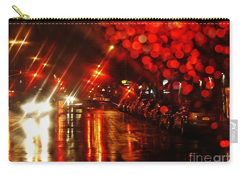 Street Carry-all Pouch featuring the photograph Wet City 2 by Sarah Loft