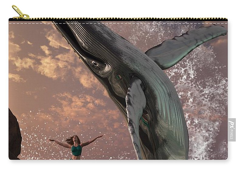 Whale Carry-all Pouch featuring the digital art Whale Watcher by Daniel Eskridge