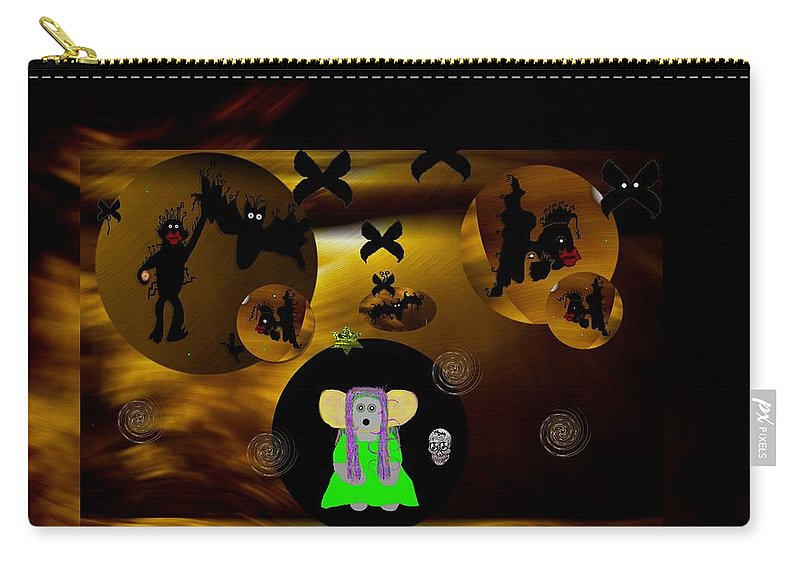 Desert Carry-all Pouch featuring the mixed media What Are You Doing by Pepita Selles