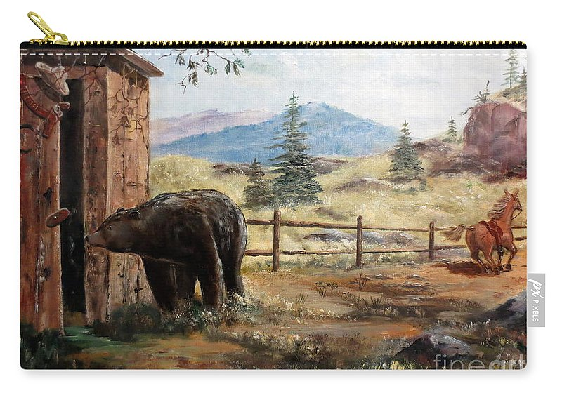 Bear Carry-all Pouch featuring the painting What Now by Lee Piper