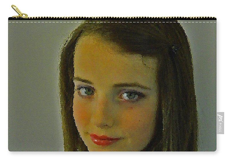 Face Carry-all Pouch featuring the painting What's She Thinking? by Mair Hunt
