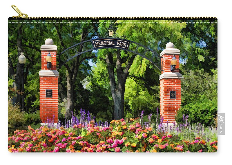 Wheaton Carry-all Pouch featuring the painting Wheaton Memorial Park by Christopher Arndt