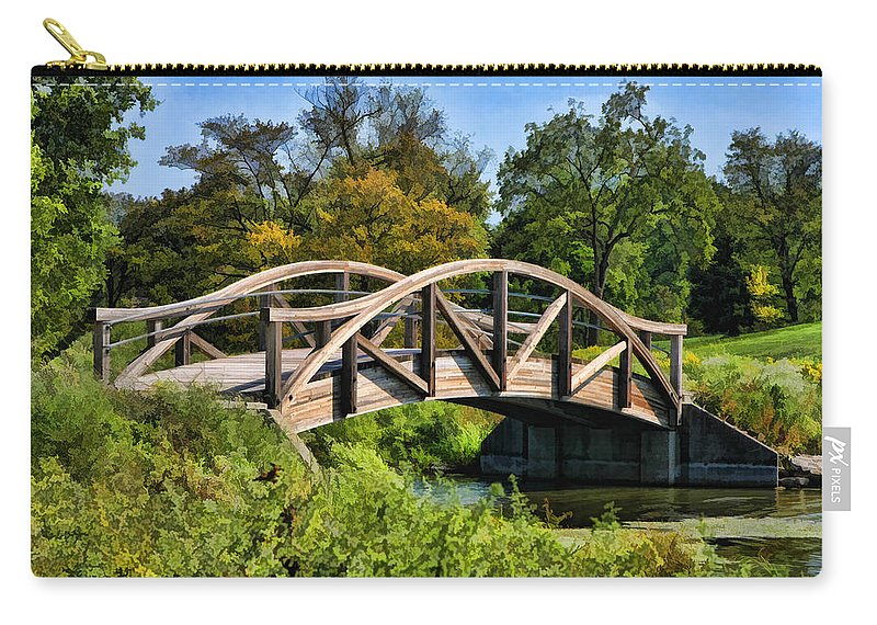 Wheaton Carry-all Pouch featuring the painting Wheaton Northside Park Bridge by Christopher Arndt
