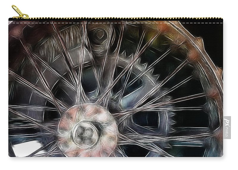 Metal Carry-all Pouch featuring the photograph Wheels by Ericamaxine Price