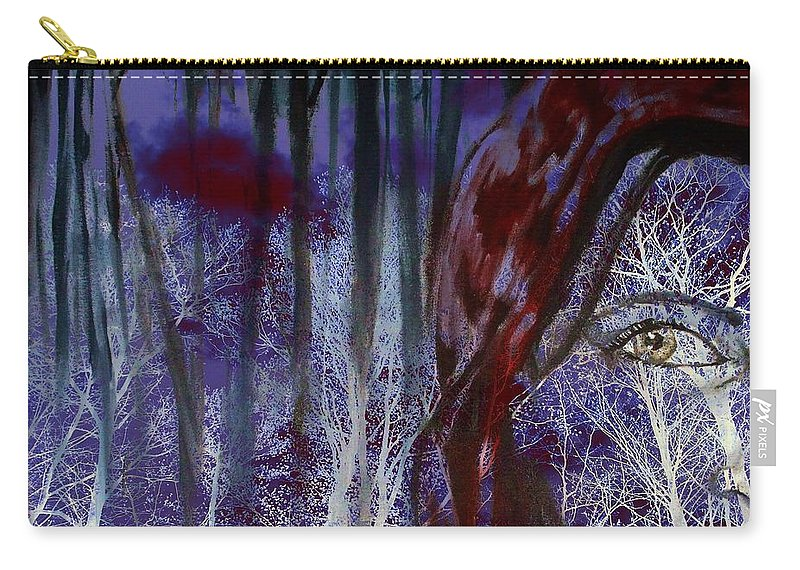 Little Red Riding Hood Carry-all Pouch featuring the digital art When Darkness Beckons by Shana Rowe Jackson