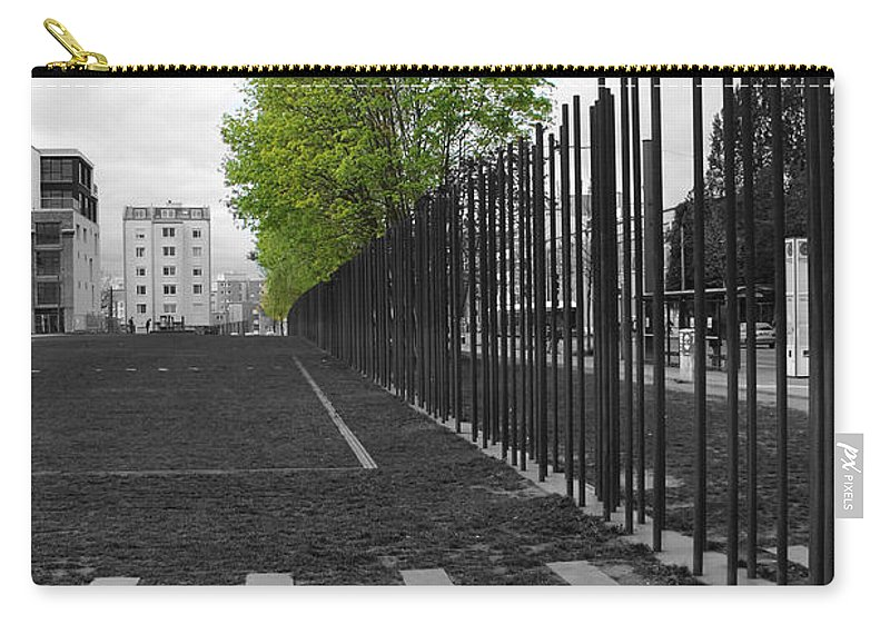 Berlin Wall Gdr Ddr Mauerverlauf Mauer East Bernauer Strasse Remember Memorial Photgraph Sw Bw Schoenholzer Strasse Inhumanity Carry-all Pouch featuring the photograph When Hope Blooms Again by Steve K