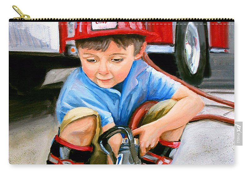 Boy And Fire Truck Carry-all Pouch featuring the painting When I Grow Up by Paul Walsh