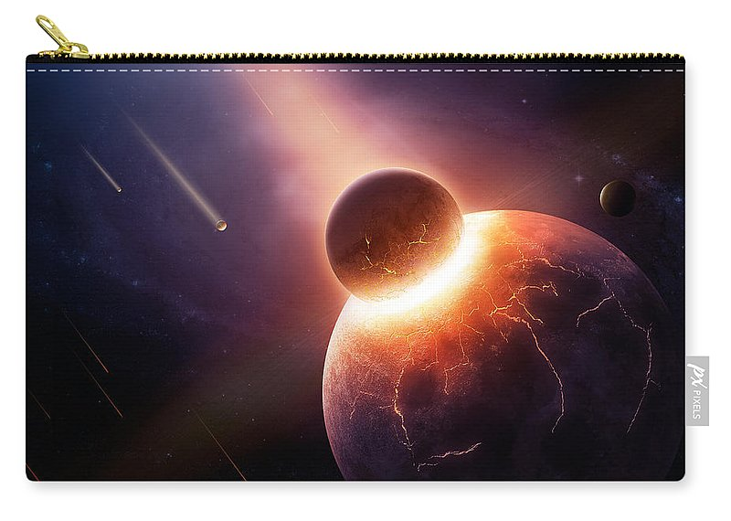 Earth Carry-all Pouch featuring the photograph When Planets Collide by Johan Swanepoel